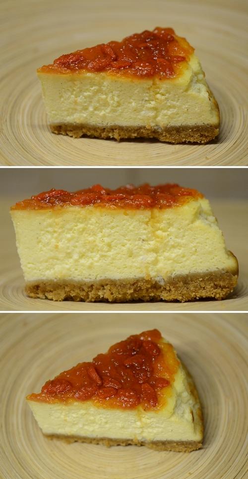 cheesecake con confettura di bacche di goji