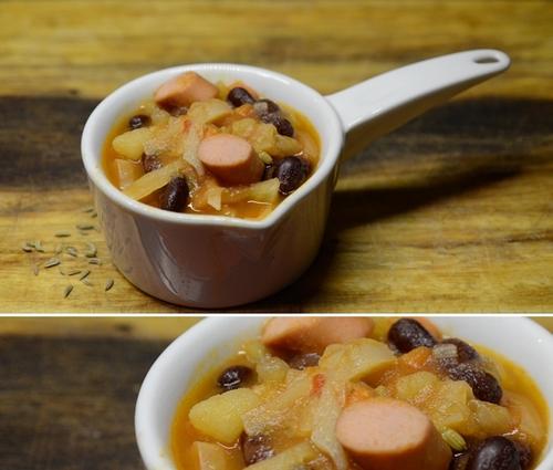 zuppa di cavolo cappuccio con fagioli e wurstel