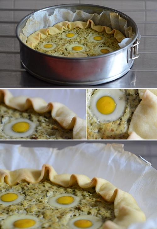 quiche di asparagi con uova di quaglia
