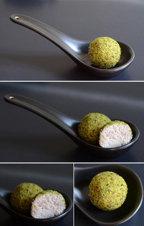 tartufi di mortadella con granella di pistacchi