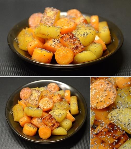 daikon e carote a pois