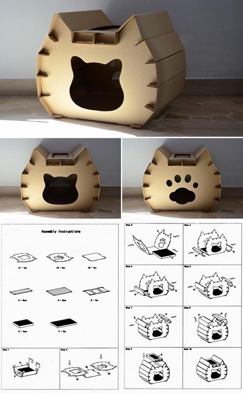 gatto casetta assemblaggio