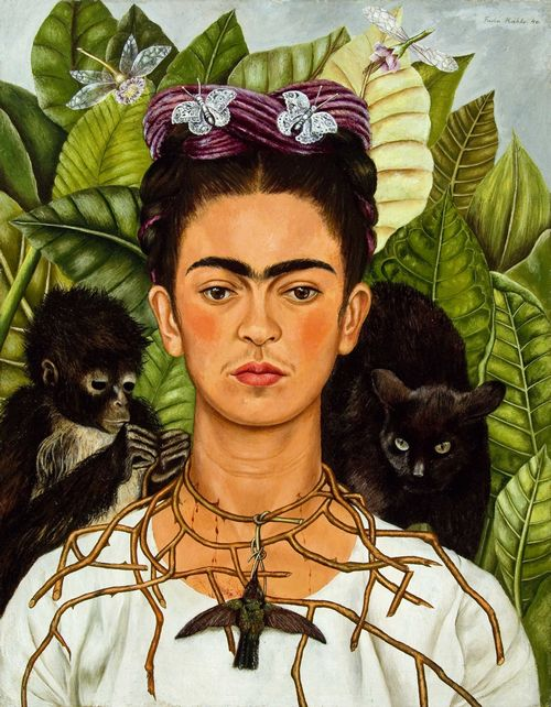 frida kahlo autoritratto con collana di spine e colibri